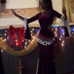 Ustadza Azra bellydancing on doumbek Acker Night Prescott AZ
